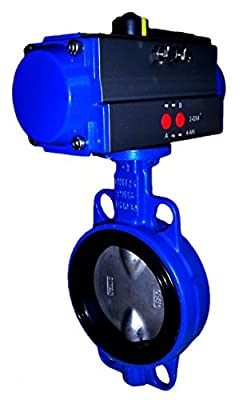 """4"""" Air Actuated Butterfly Valve 125# Wafer DI SS 80 PSI DA Actuator 100 PSI Line Pressure from Max-Seal Actuated"""