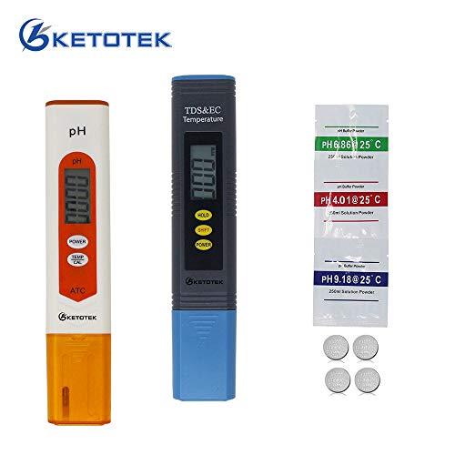 KETOTEK Draagbaar Waterkwaliteit Test Kit pH TDS EC Temperatuur Meter Digitaal Water Tester voor Drinkwater Aquarium Vijver