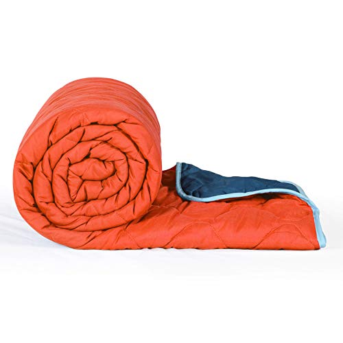Divine Casa Luminous Microfibre All Weather Reversible AC Single Comforter (Solid Orange and Blue)