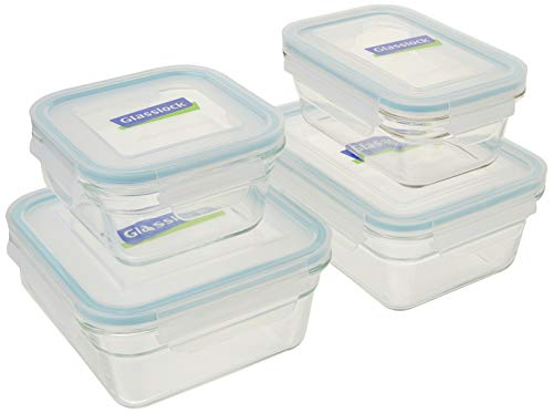 Glasslock 2 Rectangle and 2 Square Assorted Oven Safe Container Set 4Piece