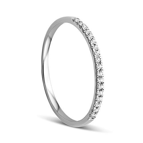 Orovi Anello Donna Eternity/Veretta in Oro Bianco con Diamanti Taglio Brillante Ct 0.09 Oro 9 Kt / 375