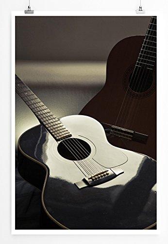 Eau Zone Home foto - Art foto's - twee zwarte akoestische gitaren - fotodruk in haarscherpe kwaliteit LEINWANDBILD gespannt 90x60cm