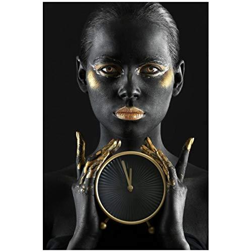 HGLLL Decoraciones Modernas para el hogar Mujer Negra con Reloj Despertador Pintura en Lienzo Arte de la Pared Póster e Impresiones (60x80cm) Sin Marco