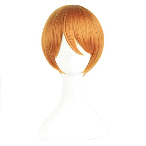 MapofBeauty 12 Inch/30cm Role Play Cosplay Perücke Kostüm (Goldene Orange)