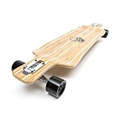 Size: 38 inches x 9.75 inches Multiple layers of Bamboo and Canadian Maple with durable heat transferred graphics and clear grip tape. 180 mm (7 inch) aluminum trucks with polished finish and ultra high rebound bushings 70 mm x 50 mm high rebound ure...