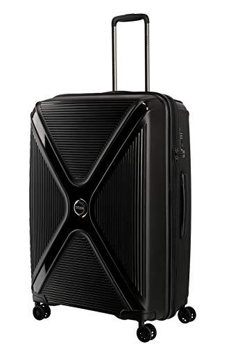 Gepäck Serie PARADOXX: TITAN Hartschalen Trolleys mit Akzenten in Leder Optik, Koffer 4-Rad groß mit TSA Schloss, 833404-02, 76 cm, 110 Liter, Black (Schwarz)