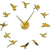 Reloj de Pared Reloj de Pared Barrido silencioso Animales de la Naturaleza Volar Habitación de Bricolaje Decoración del hogar Reloj de acrílico Regalo de los Amantes de los pájaros Oro 27 Pulgadas