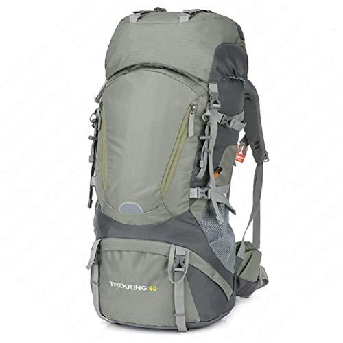 WUHUAROU Hiking Backpack 60L Climbing Bag Outdoor Aluminium Alloy External Frame Rucksack Nylon Waterproof Sport Backpack (Color : Green)