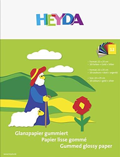 Heyda 2048006 Glanzpapier-Heft (22 x 25 cm, 80 g/m², 12 Blatt) 10 Farben, gold, silber