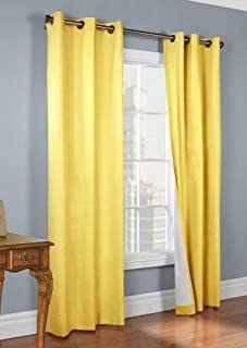 Gorgeous Home *COMES IN DIFFERENT SHADES & SIZES* (#64) 1 PC SOLID DRAPE SILKY TOUCH LINED BLACKOUT WINDOW CURTAIN (CANARY YELLOW, 63