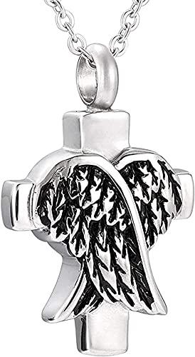 Alas Cruz Collar Cremación Joyas Fether Cenizas Recuerdo Urna Colgante Collar