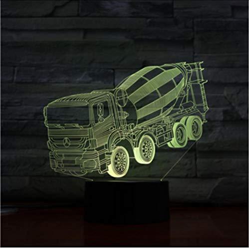 Truck 3D Nachtlampjes sluimerlampen, mixer, stereo lamp, slaapkamer, led, sfeer, nachtkastje, verlichting, enz. nachtlampje, cadeau voor kinderen Afstandsbediening en touch.