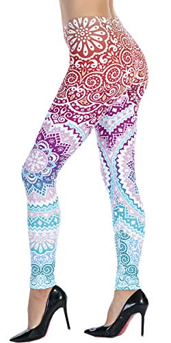 Ndoobiy Women's Printed Leggings Full-Length Regular/Plus Size Workout Leggings Pants Soft Capri L2(zi Circle OS)