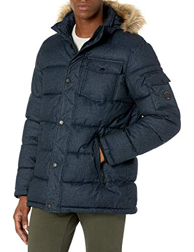 Nautica Herren Quilted Parka Jacket Removable Faux Fur Hood Jacke, Blau - Blue Print, Large