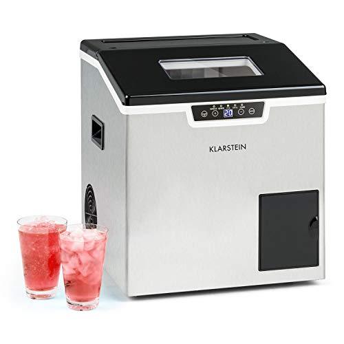 Klarstein Icefestival Cube máquina de hielo, 400 W, 12-20 kg/24h, capacidad: 1,9 kg, depósito de agua: 1,8 l, 3 tamaños, hielo en cubitos, hielo picado, manguera para agua, acero inoxidable, p