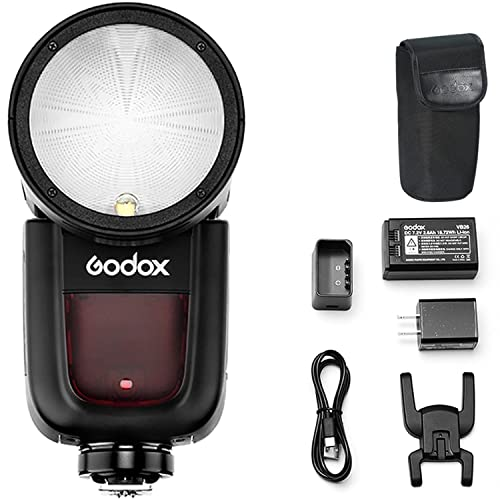 Godox V1-O Round Head Camera Flash Speedlite, 2.4G X Wireless HSS 76Ws Speedlight Flash