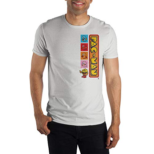 Licensed Pac-Man Vertical Logo and Ghosts T-shirt for Men, S to 3XL
