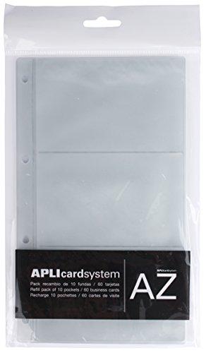 APLI 12257 - Fundas recambio tarjetero A5 (60 tarjetas), Transparente