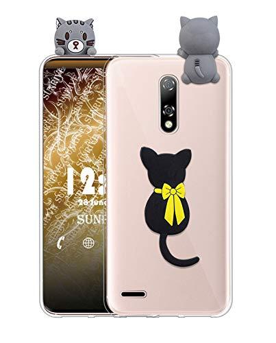 Sunrive Funda para LG K8 2017/K4 2017, Silicona Transparente Funda Slim Fit Gel 3D Carcasa Case Bumper de Impactos y Anti-Arañazos Espalda Cover(W1 Gato) + 1 x Lápiz óptico