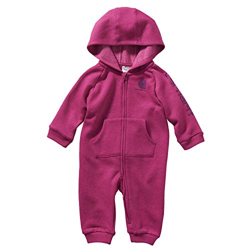 Carhartt Baby Girls Full Zip Hooded Coverall Bodysuit, Very Berry Heather, 3 Months