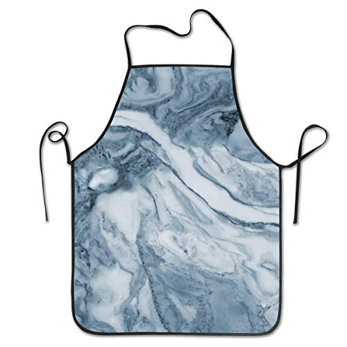 Lawenp Adjustable Bib Apron Seamed Apron,Cipollino Azzurro Blue Marble Cooking Kitchen Aprons for Women Men Chef,BBQ 28.3 x 20.5 Inches