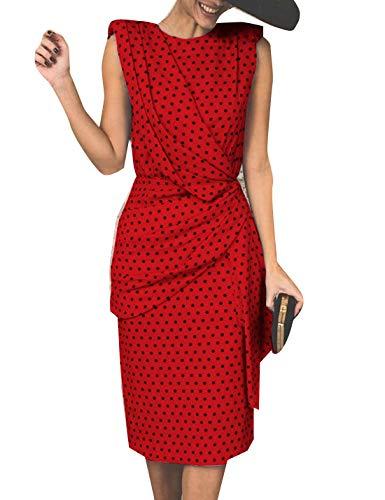 Vestidos De Graduación Elegantes 1950 S Polka Dot Ajustado Verano Fiesta Vestido Midi Rojo M