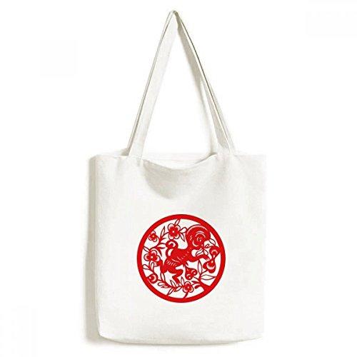 DIYthinker Papier-Cut-AFFE Tier China Sternzeichen Kunst Environmentally-Tasche Einkaufstasche Kunst Waschbar 33cm x 40 cm (13 Zoll x 16 Zoll) Mehrfarbig