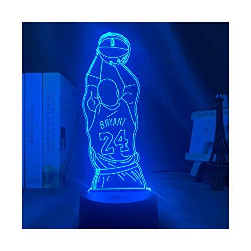 HOKVJ Led Nachtlicht Kobe Bryant Sprungschuss Basketball Figur Fernbedienung Farbwechsel Schlafzimmer Dekoration Nachtlicht Schreibtisch Touch 3D Licht Kobe Memorial Geschenk