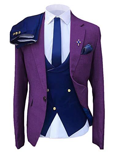 Traje formal para hombre de 3 piezas para hombre Slim Fit muesca solapa Blazer azul esmoquin para novios de boda (Blazer+chaleco+pantalones) - negro - 50
