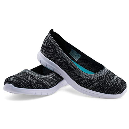 JABASIC Women Casual Slip on Loafers Knit Flats Shoes Comfortable Driving Shoes (Black-1,9.5)