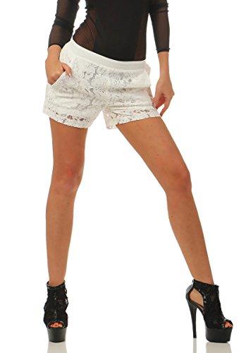 Fashion4Young 3838 Damen Hotpants Shorts Kurze Hose Spitze Spitzenhotpants Gummizug (weiß, S)