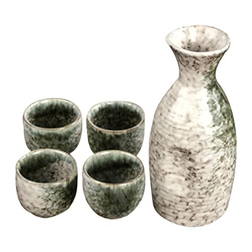 XXXD Juego de vasos de cerámica retro para el hogar, piedra tradicional, estilo japonés, juego de copas de vino blanco, arroz y vino botella de vino