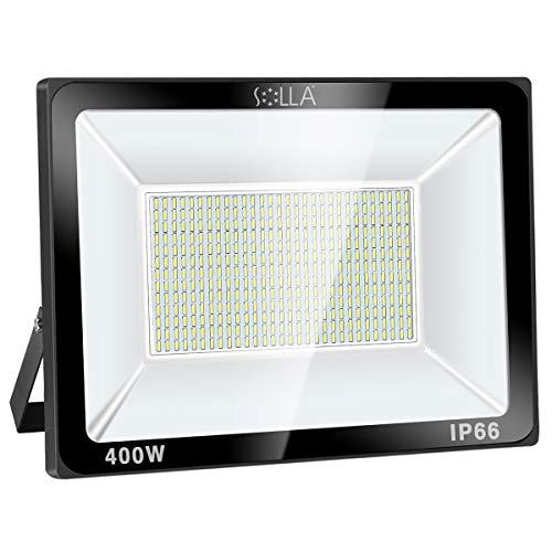 SOLLA 400W LED Flutlicht Outdoor-Sicherheitsleuchte, 2140W Äquiv, 6000K Tageslichtweiß, 32000LM, Wasserdicht IP66, Außenwandleuchte