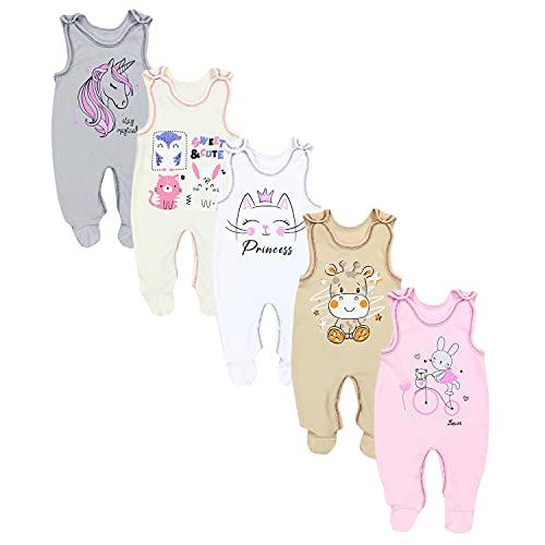 TupTam Unisex Baby Strampler mit Aufdruck 5er Set, Farbe: Mädchen 4, Größe: 62