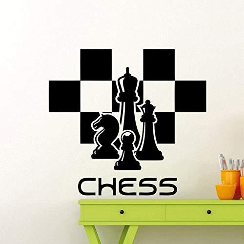 Calcomanía De Ajedrez Piezas De Ajedrez Etiqueta De La Pared Chessmen Mural Home Living Room Design Interior Art Decoration Any Room Vinyl Sticker 58X63Cm