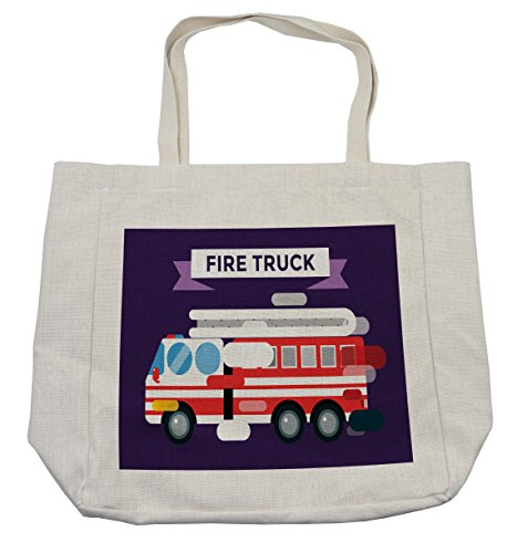 Lunarable Fire Truck Shopping Bag, Fast Emergency Service Fire Extinguisher Department Unit Protection Transport, Eco-Friendly Reusable Bag for Groceries Beach and More, 15.5