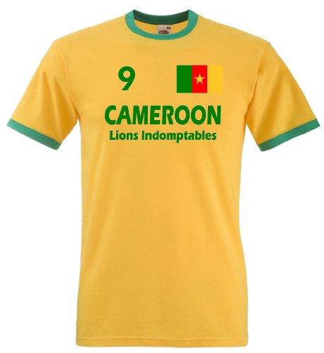 Kamerun Herren T-Shirt Cameroon Retro Trikot The Lions|XXL