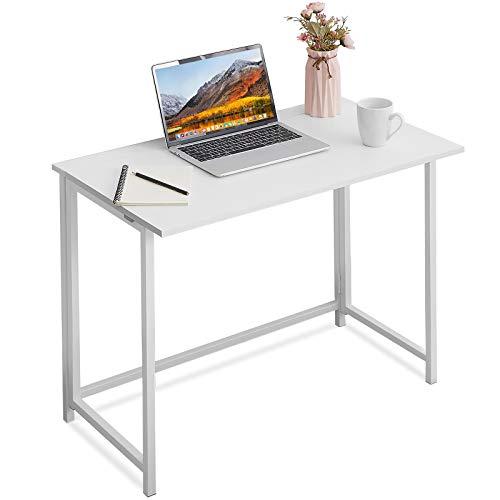 APOWE - Escritorio plegable para ordenador, mesa de oficina, mesa de trabajo, mesa plegable para oficina en casa, mesa para espacios pequeños, oficinas (blanco)