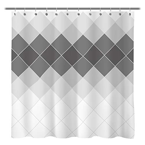 Sunlit Design Ombre Gray Mosaic Rhombus Fabric Shower Curtain, Modern Style Bathroom Decoration Curtain and Tapestry, Machine Washable