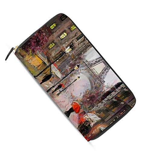 Ahomy Damen-Portemonnaie mit Reißverschluss, Motiv: Eiffelturm und Straßenansicht von Paris, Leder, mit mehreren Kreditkartenfächern