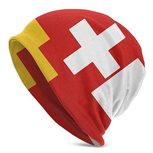 TAOMAAM German Swiss Austrian Flag Casual Fashion Autumn and Winter Knit Hat Soft Warm Ski Hat Unisex Outdoor Hat, One Size Black