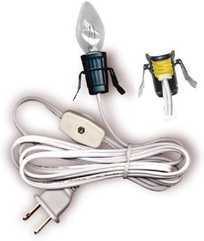 National Artcraft Lamp Cord Set With Clip In Style Socket Switch And Bulb 6 Ft White Pkg 1 Lighting Sets