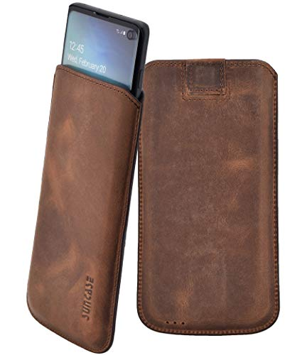 Suncase Original Tasche kompatibel mit Samsung Galaxy S10 Hülle *Ultra Slim* Leder Etui Handytasche Ledertasche Schutzhülle Case (mit Rückzuglasche) in Antik Coffee