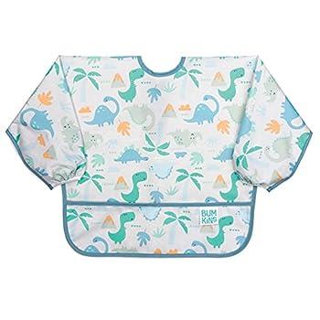 Bumkins Sleeved Bib/Baby Bib/Toddler Bib/Smock Waterproof Washable Stain and Odor Resistant 6-24 Months - Dinosaurs