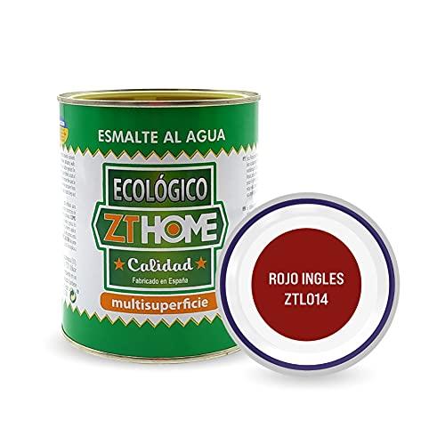 Pintura acrilica Ecológica al agua Rojo Ingles para madera, metal, radiadores, aluminio/Esmalte al agua multi superficie/cunas, muebles, azulejos, puertas para exterior e interior 750ml