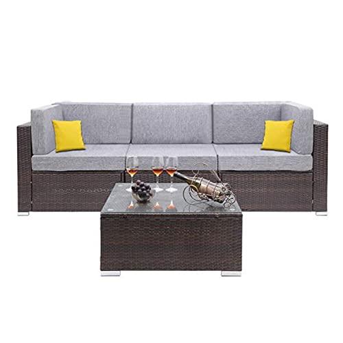 CHENGSYSTE Muebles de Patio de liquidación, Piezas de Patio al Aire Libre EDUCACIÓN FÍSICA Conjunto de sofá de Esquina de Mimbre de ratán incluidos Mesa de té Patio Conjuntos de Muebles by