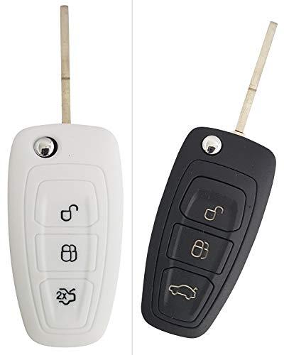 CK+ Ford Auto-Schlüssel Hülle Key Cover Case Etui Silikon für Focus Fiesta Kuga Mondeo B-Max Grand C-Max S-Max Galaxy - Weiß