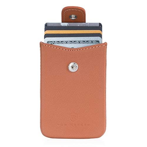 VON HEESEN Kartenetui für 10 Karten - RFID-Schutz - Made in Europe - für Damen & Herren (Cognac-Braun)