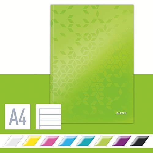 Leitz Cuaderno A4 con Tapas Rígidas, Verde, 80 hojas, a Rayas, Papel de Marfil de 90g/m², Gama WOW, 46251254