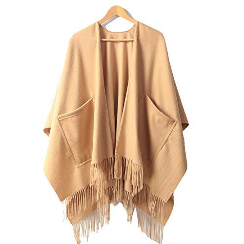 WANGLXST Beiläufig Taschenhandtuch Schal, Unisex Fransen Poncho Multifunktion Winterschal, Strapazierfähiger Mode Frauen Mode, Gold Camel